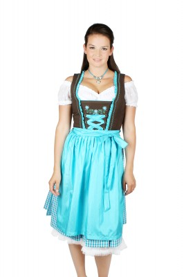 Traditionelles Wiesndirndl in Braun-Türkis